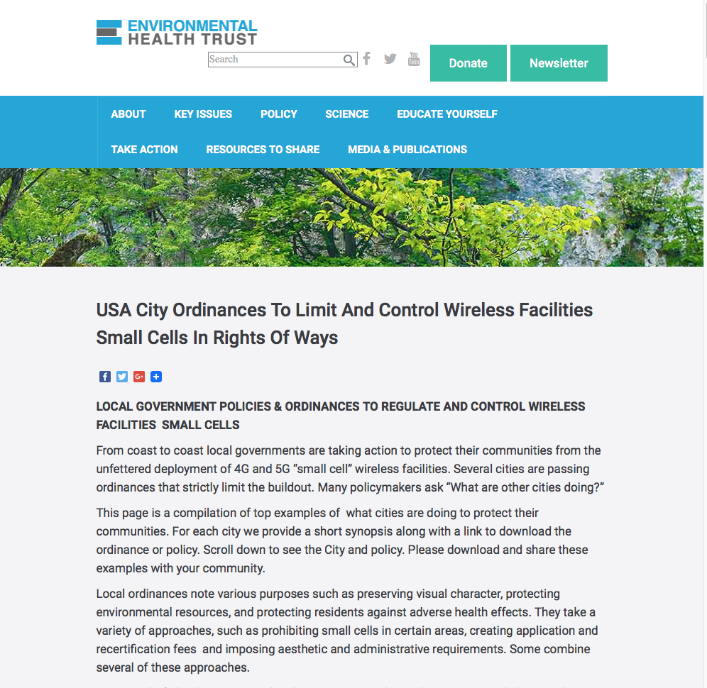 USA City Ordinances To Limit And Control Wireless Facilities