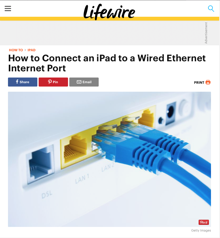 ipad connect to ethernet