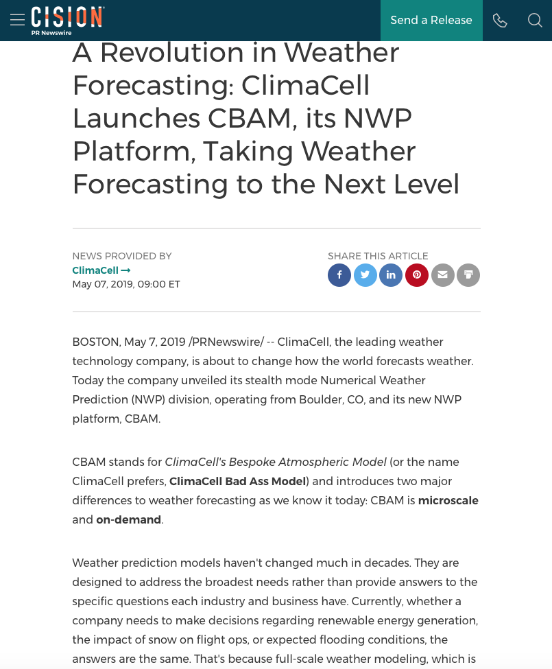 A Revolution in Weather Forecasting: ClimaCell Launches CBAM